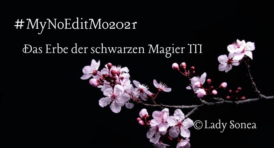"""Ein Zweig mit weiß-rosa Blüten auf schwarzem Hintergrund. Der Text sagt: """"#MyNoEditMo2021 Das Erbe der schwarzen Magier III @Lady Sonea"""""""